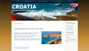Travel website homepage